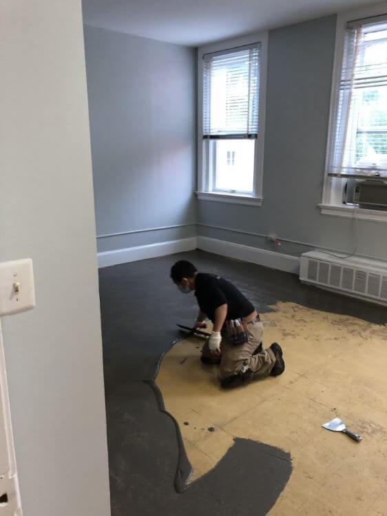 Carpet Prep in the Morgan Room.