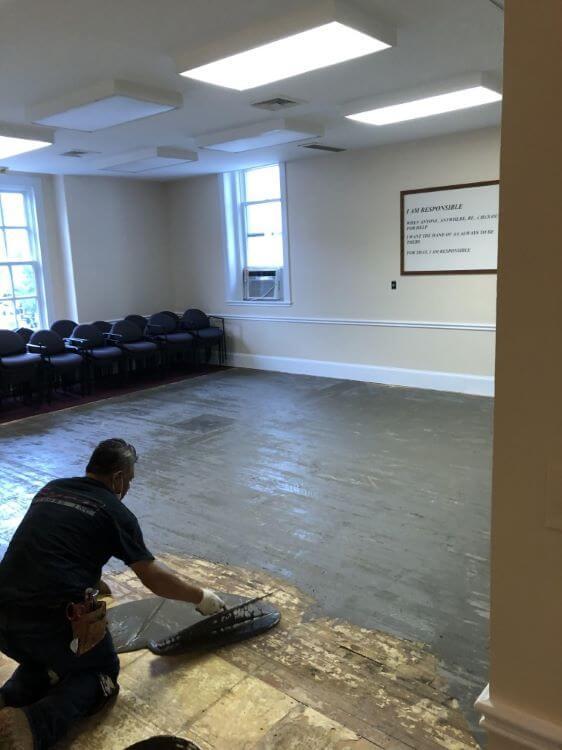 Carpet prep in Taylor Room.