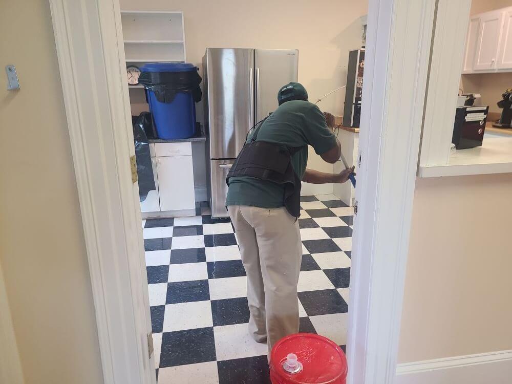 Vending area floor cleaning.